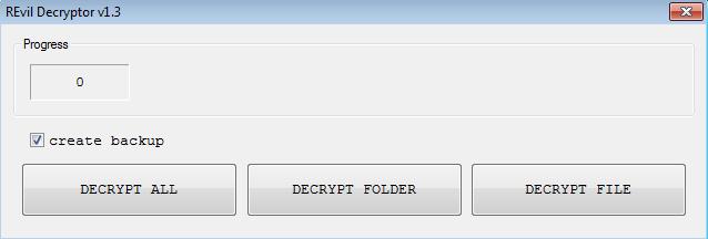 The GUI of the Decryptor
